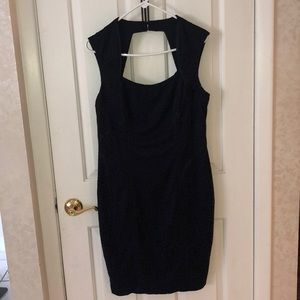 Cache lace dress with satin accents